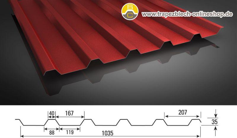 trapezblech 35 207 dachprofil 25my polyester farbbeschichtung 0 5. Black Bedroom Furniture Sets. Home Design Ideas